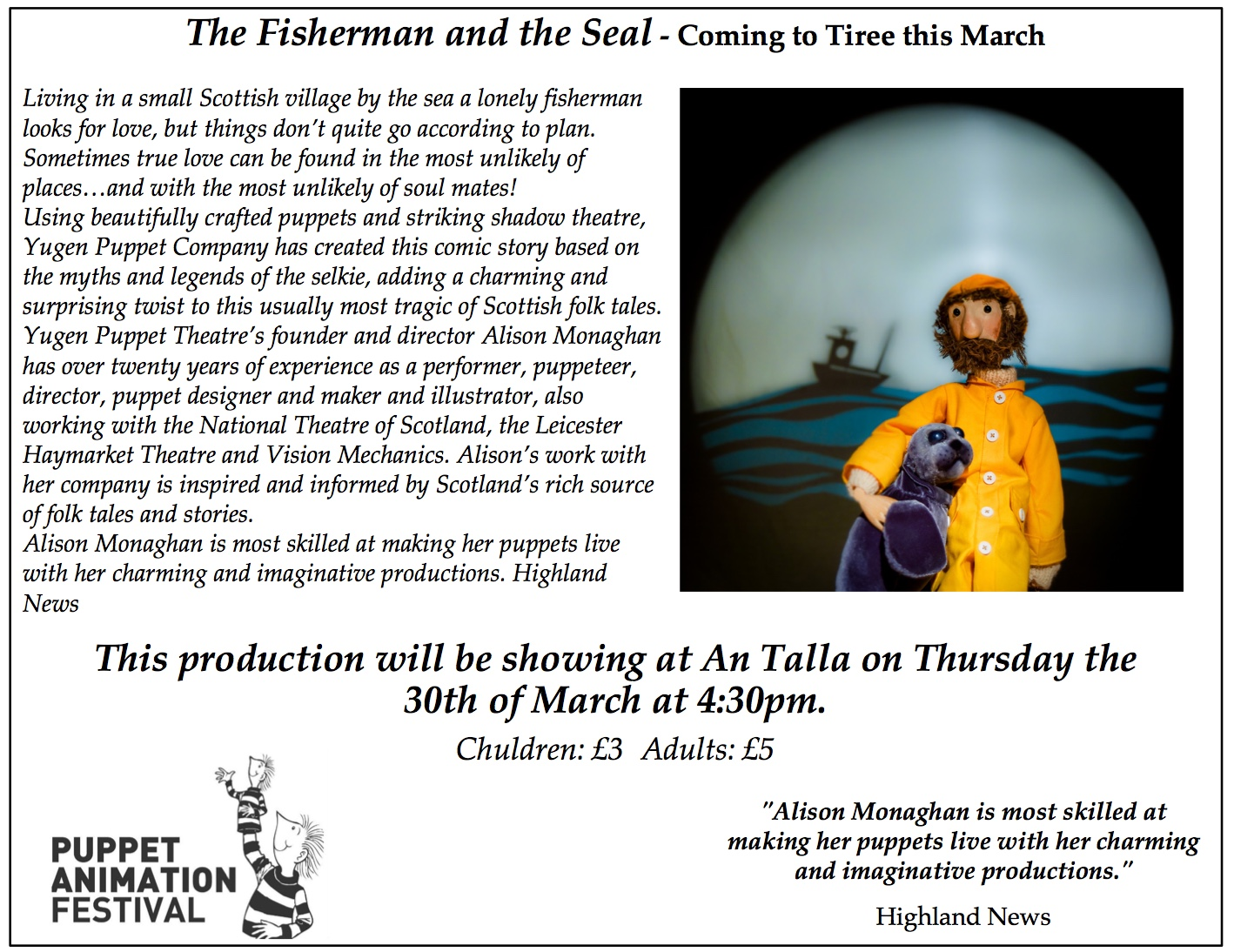 Puppet Performance – The Fisherman and the Seal